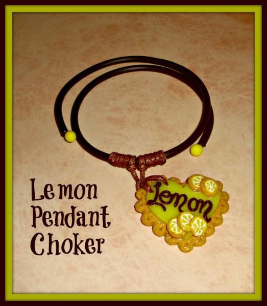 Lemon Heart Polymer Pendant - Gummy Rubber Necklace