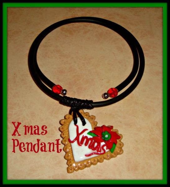 Xmas Heart Polymer Pendant - Gummy Rubber Necklace