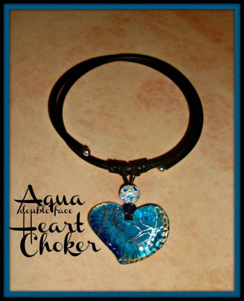 Blue Heart Pendant - Gummy Rubber Choker