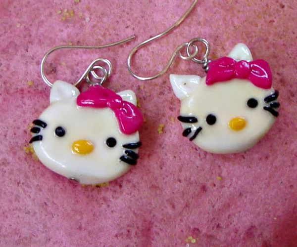 Kitty Polymer Clay - Silver Earrings