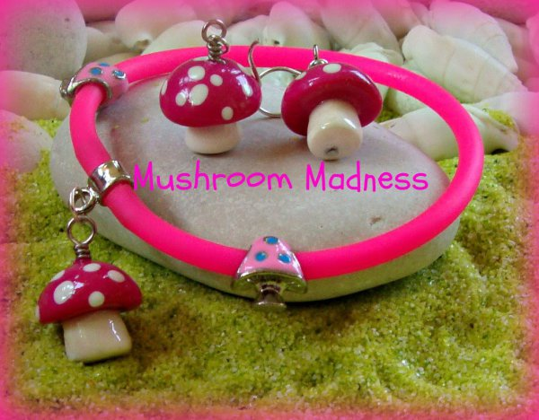 Mushroom Polymer - Silver Earrings and Gummy Rubber Bracelet
