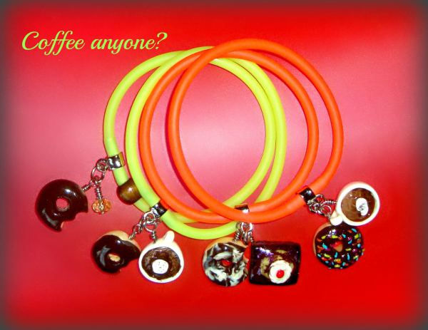 Coffee and Sweets Polymer Clay - Gummy Rubber Bracelets
