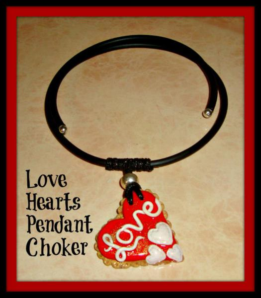 Love Heart Polymer Pendant - Gummy Rubber Necklace