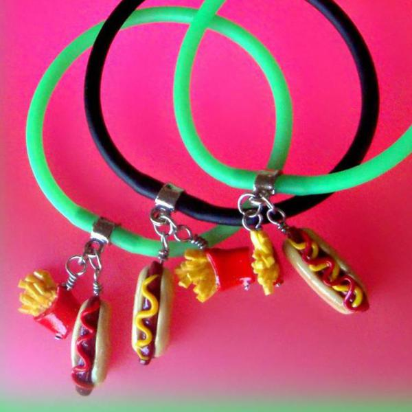 Hot Dog and Fries Polymer Clay - Gummy Rubber Bracelet