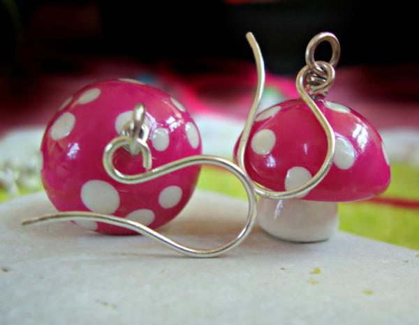Mushroom Polymer Silver Earrings